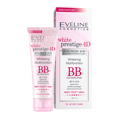 Kem lot duong trang Eveline Cosmetics White Prestige 4D Whitening Multifunction BB Cream Blemish Base 50ml